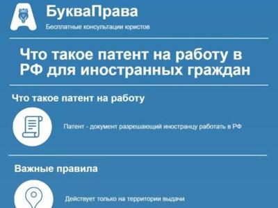 Как влияет патент на работу нахождение территории россии