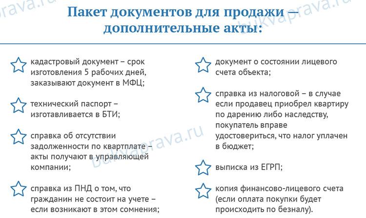 Paket dopolnitel'nyh dokumentov dlya prodazhi