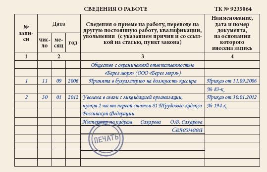 zapis-v-trudovuyu-knizhku-pri-uvolnenii-na-osnovanii-bankrotstva
